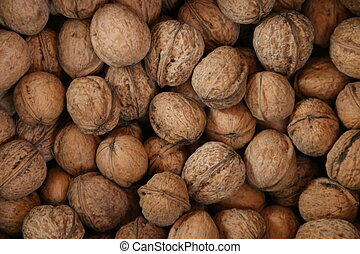 Walnuts. Healthy organic food concept. Top view. Blurred photo for background.