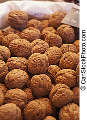 Walnuts in a market