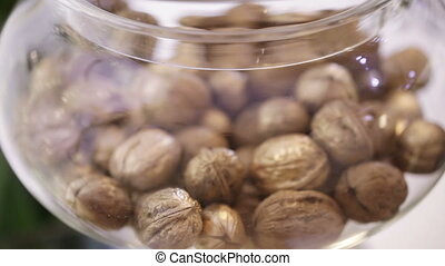 Walnuts in glass tape - Festively decorated Walnuts for...