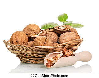 Walnuts in wicker basket, scoop with kernels isolated on white.