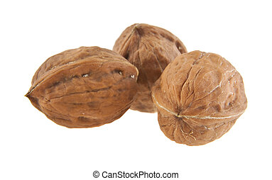 walnuts isolated on white background close-up
