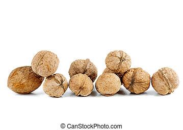 Walnuts isolated on white background.