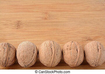 Walnuts lined up