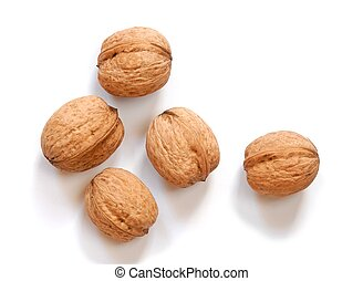 Macro of walnuts isolated on white background