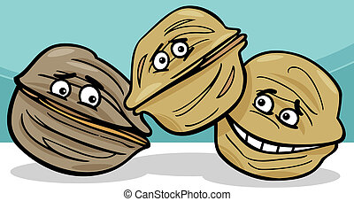 walnuts nuts cartoon illustration - Cartoon Illustration of...