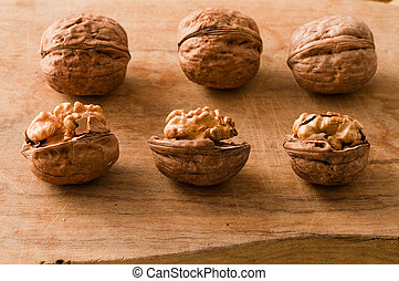 walnuts on a cutting board