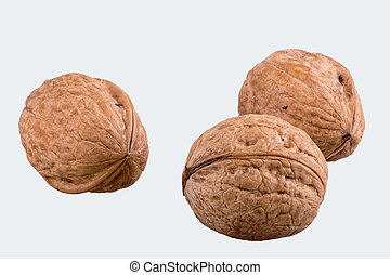 Walnuts on a white background