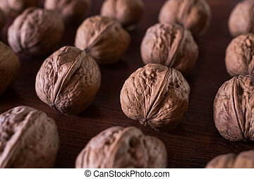 walnuts on a wooden background