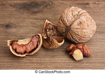 walnuts on old wooden table