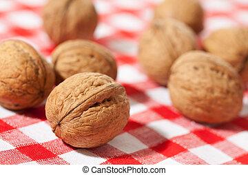 walnuts on picnic tablecloth