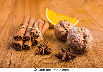 walnuts, orange and spices - ingredients for homemade cake