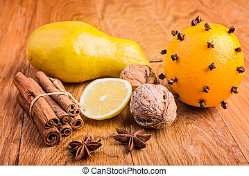 walnuts, orange, pear and spices - ingredients for homemade cake