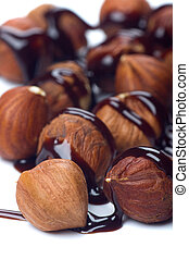 Walnuts with chocolate topping - Walnut cores with chocolate...