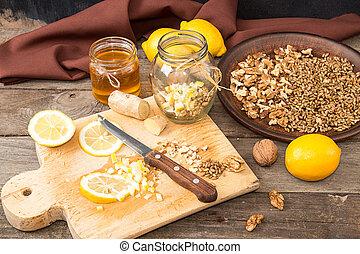 walnuts, zmieszać, pszenica, cytryna, food:, miód, ginger., germinated, zdrowy