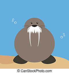 Walrus - abstract water animal on a special background