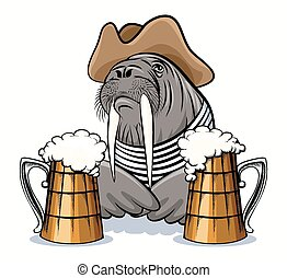 Walrus and Beer - Humorous illustration of walrus with mugs...