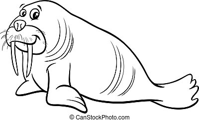 walrus animal character cartoon coloring page - Black and...