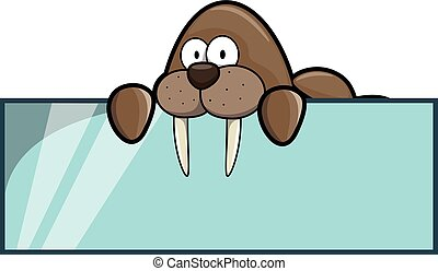 Walrus banner illustration - Walrus banner cartoon...