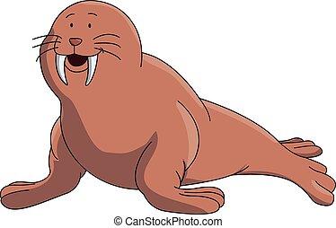 Walrus cartoon illustration