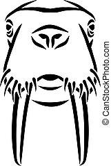 Walrus head caligraphy style