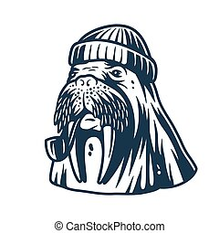 Walrus in a sailor cap with smoking pipe