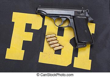 walter pp handgun on FBI uniform