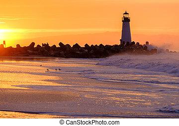 (walton, fény, hullámtörő gát, cruz, szent, lighthouse), ...