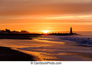 (walton, fény, hullámtörő gát, cruz, szent, lighthouse), napkelte