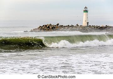 (walton, fény, hullámtörő gát, cruz, szent, lighthouse)