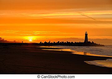 (walton, lighthouse), napkelte, cruz, szent, hullámtörő gát...