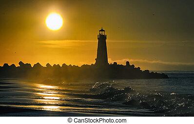 walton, világítótorony, cruz, szent, reggel