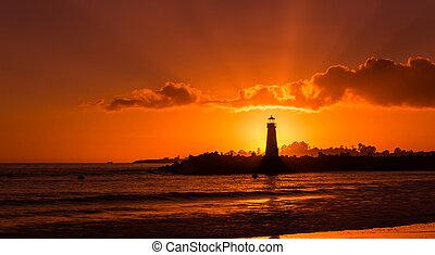 walton, világítótorony, napnyugta
