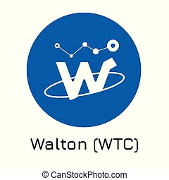 Walton (WTC). Vector illustration crypto coin ico