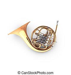 waltornia, instrument., (cor)., wiatr, 3d