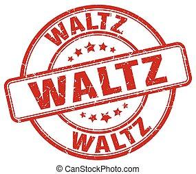 waltz red grunge round vintage rubber stamp