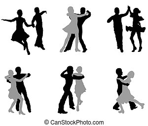 Silhouettes of the dancing men and women on a white background