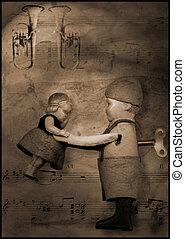 waltz wind-up tin toy illustration - still life of wind-up...