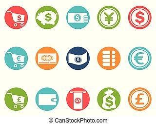 waluta, guzik, komplet, okrągły, ikony