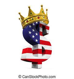 waluta, korona, dolar znaczą