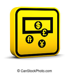 waluta, skwer, zamiana, znak