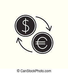 waluta zamiana, czarnoskóry, ikona