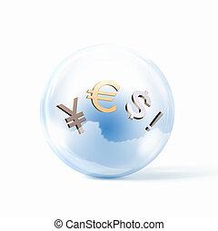 waluta, znaki, dolar, euro