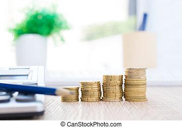 waluty, wzrastać, uważając, ekonomia, sztaplowany