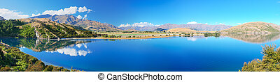 Wanaka lake - Lake Wanaka at summer sunny day