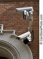 wand, cameras, überwachung, zwei
