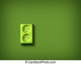 wand, energie, begriff, grün, steckdose