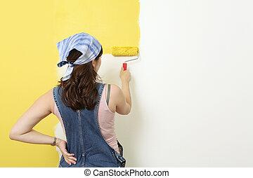 Wand, gemälde, gelber