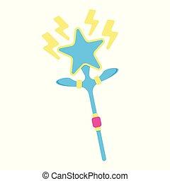 Wand icon. Fantasy World of the Unicorn. Cartoon style. Vector Illustration