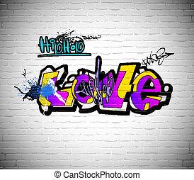 wand, städtischer graffiti, hintergrund, kunst