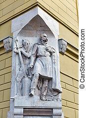 wand, statue, von, heilige nicholas, kathedrale, von, in,...